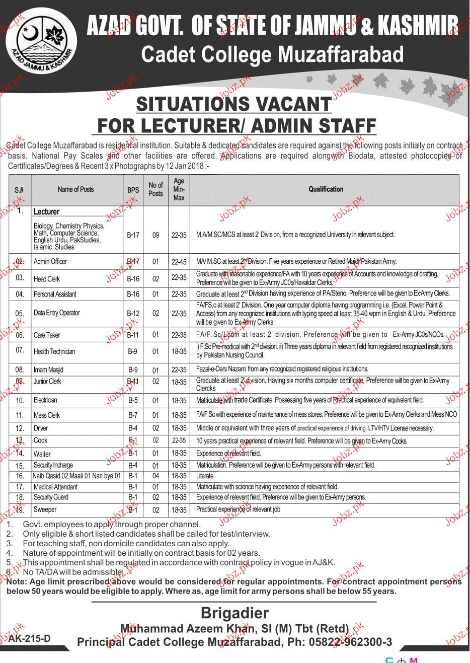 Government of Azad Jammu & Kashmir Cadet College Jobs