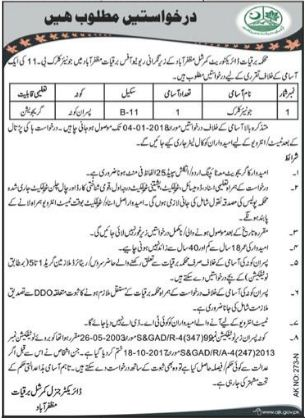 Junior Clerk Wanted For Muzaffarabad, AJK 2018