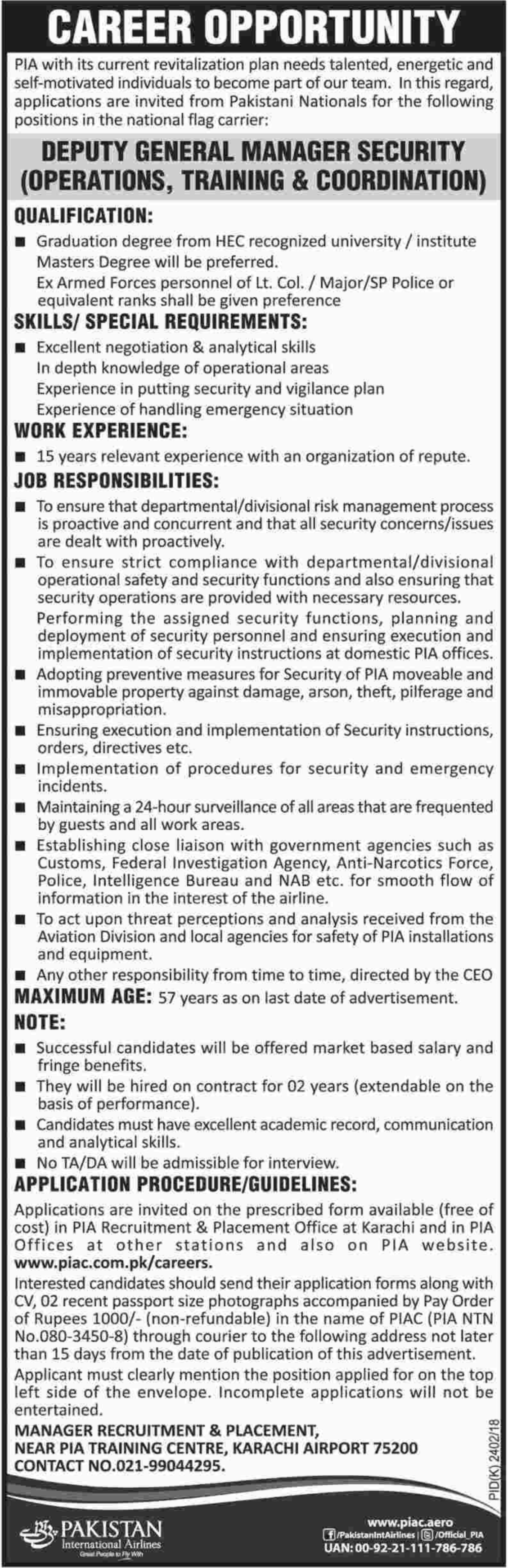 Deputy General Manager Security Operations Jobs in PIA