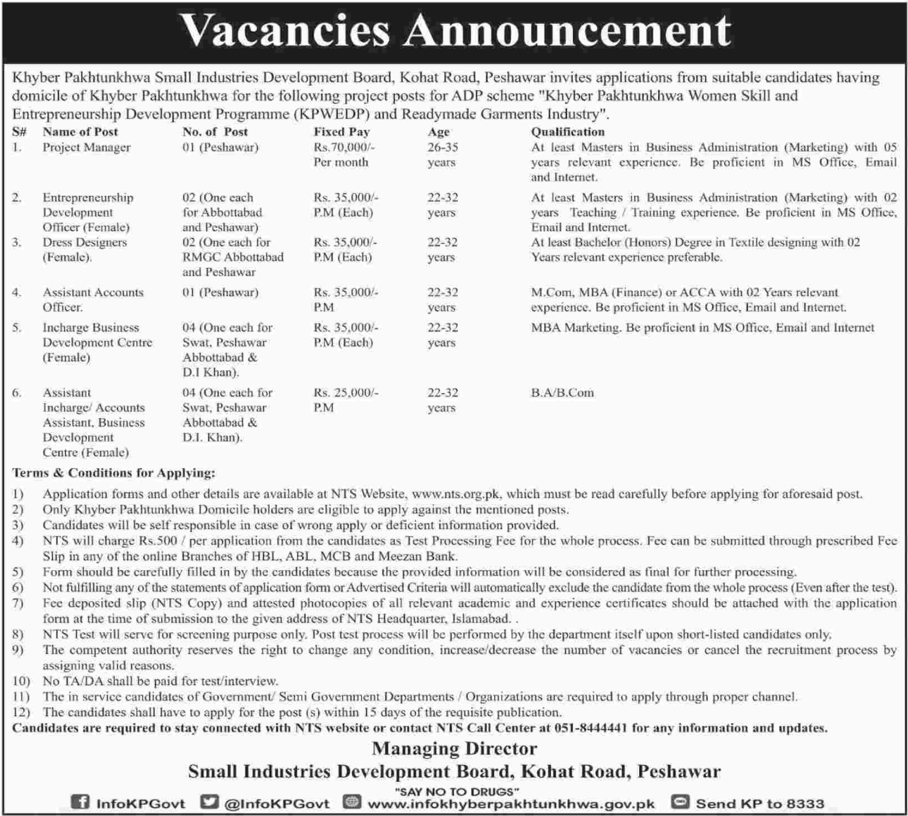 SIDB Peshawar Jobs Project Manager & Accounts Officer