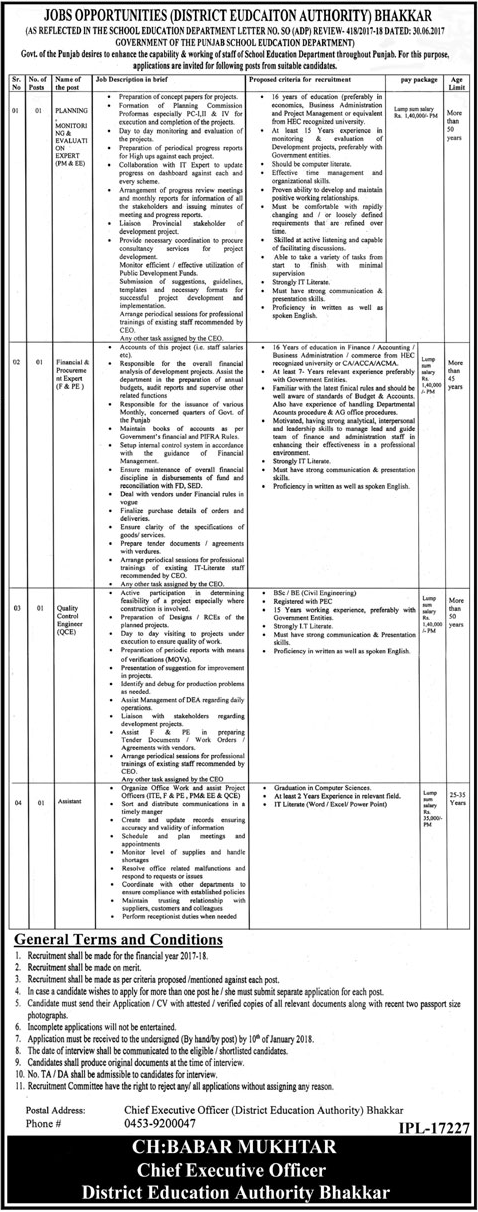 Planning & Monitoring Expert Jobs Education Authority