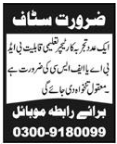 Teacher required in Abbottabad