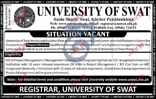 University of Swat Jobs