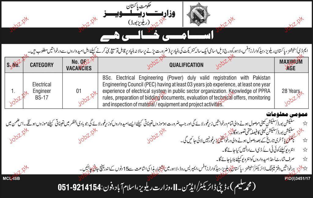 Ministry of Railways Engineering Jobs