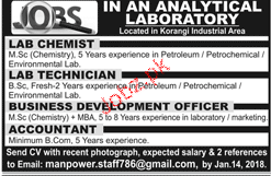 Lab Technicians, Lab Chemists Job Opportunity