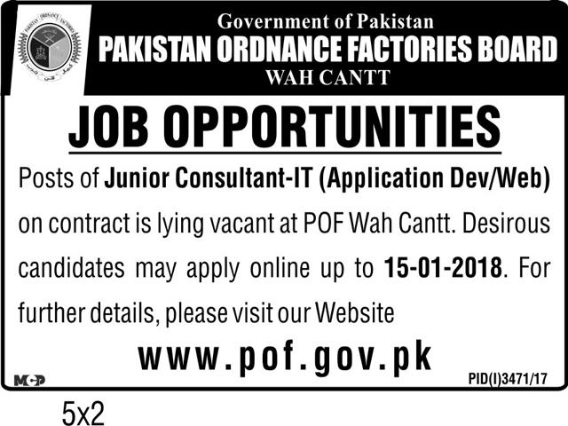 Pof pakistan jobs for junior consultant 2019 job for Junior consultant