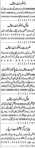 Career Opportunity Hotel & Restaurant Staff required