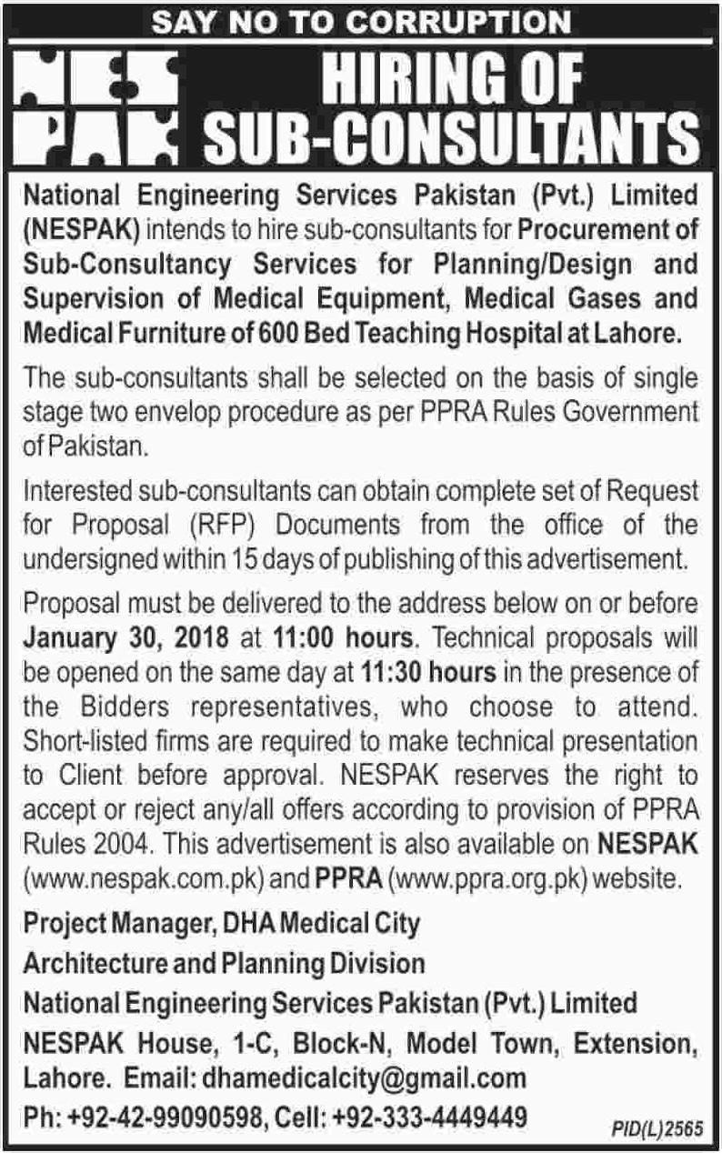 Junior consultant jobs in nespak pakistan 2018 jobs pakistan for Design consultant jobs