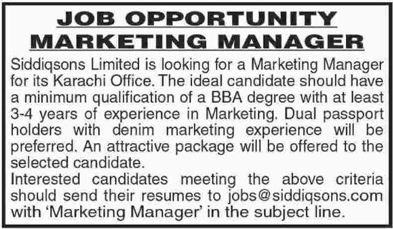 Marketing Manager Jobs Opportunity