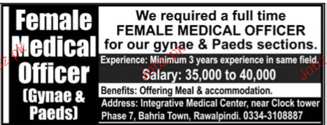 Female Medical Officers Gynae & Paeds Job Opportunity
