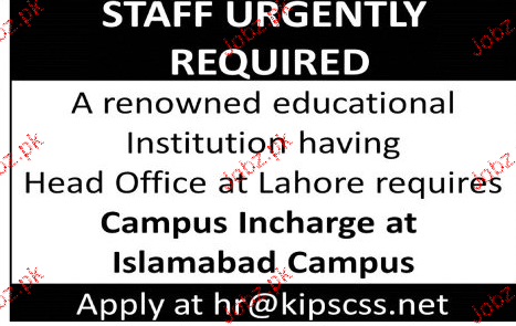 Campus Incharge Job Opportunity