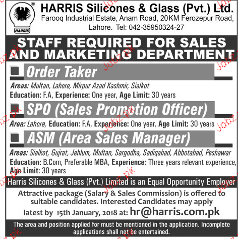 Harris Silicones & Glass Pvt Limited Jobs