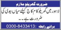 House Staff wanted in Lahore 2018