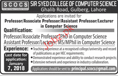 Sir Syed College of Computer Sciences Jobs 2019 Job
