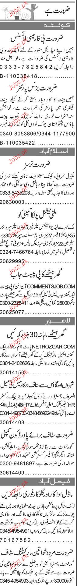 Sales Manager, Data Entry Operators Job Opportunity