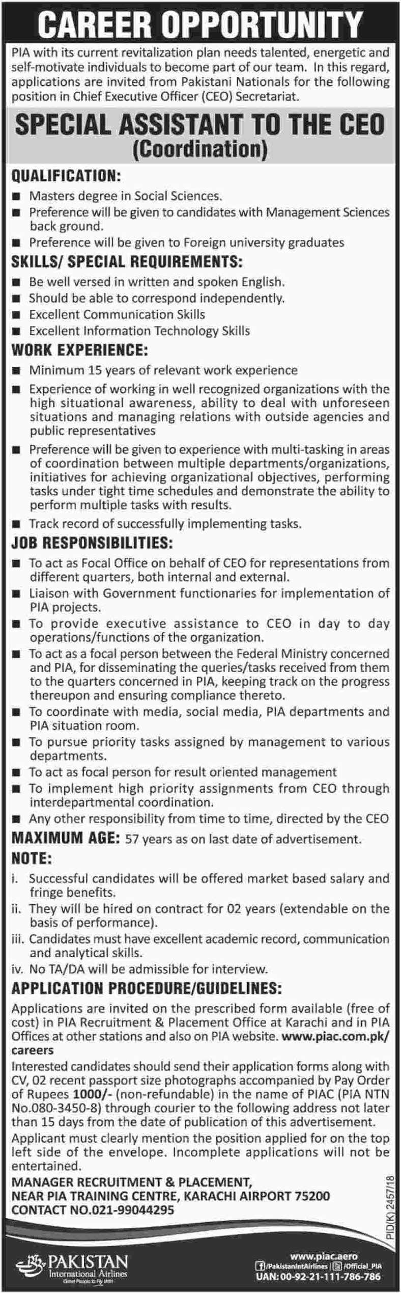 PIA Jobs for Special Assistant to the CEO