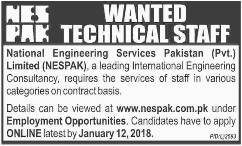 NESPAK National Engineering Services Pakistan Jobs 2018