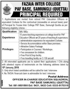 Fazaia Inter College PAF Education Officer Jobs
