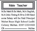 Male Teacher Jobs Opportunity
