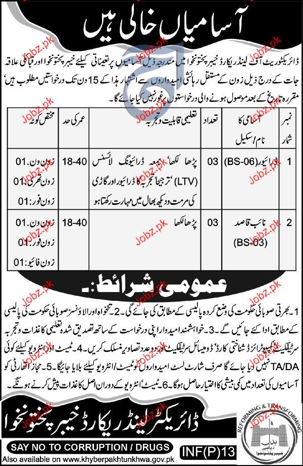 Directorate of Land Records Jobs