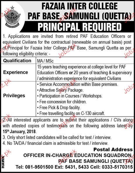 Fazaia Inter College Jobs