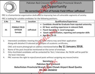 Pakistan Red Crescent PRC Jobs