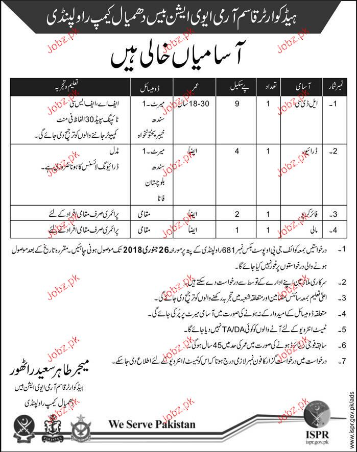 Headquarter Qasim Army Aviation Base Dhamial Camp Jobs