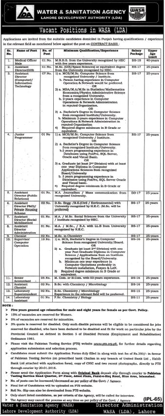 WASA Water & Sanitation Agency Jobs for Medical Officer