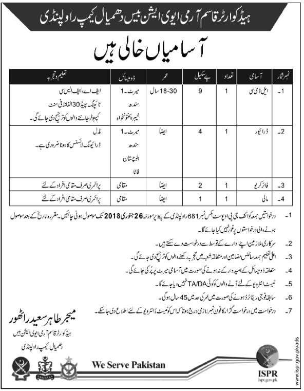 Qasim Army Aviation Base Jobs 2018 for LDC & Driver