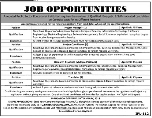 Project Manager & Translator Jobs Public Sector Institution