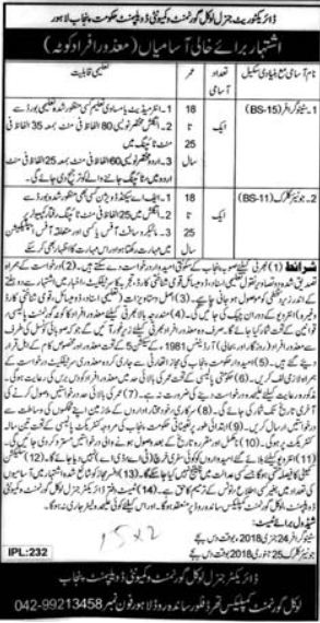 Stenographer & Junior Clerk Jobs for Disabled Persons