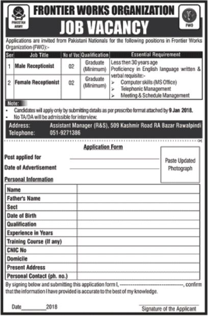 FWO Jobs 2018 for Female Receptionist