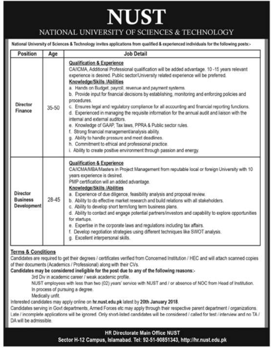 NUST Pakistan Jobs 2018 for Director Finance