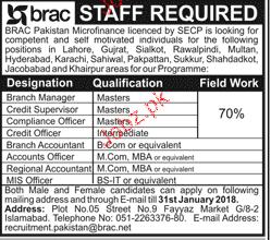 BRAC Pakistan Microfinance Jobs