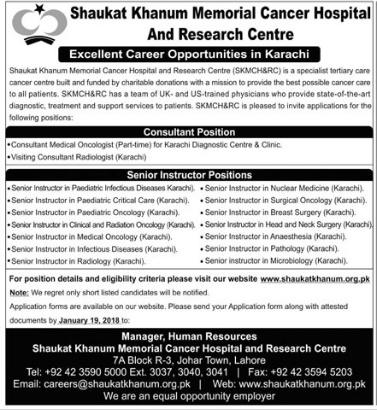 Shaukat Khanum Memorial Cancer Hospital Required Instructors