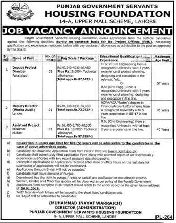 Deputy Project Director Required For Housing Foundation