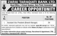 Zarai Taraqiati Bank Required Assistant Vice President