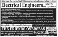 Electrical Engineer Required For Qatar