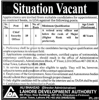 Chief Security Officer Required Lahore Development Authority