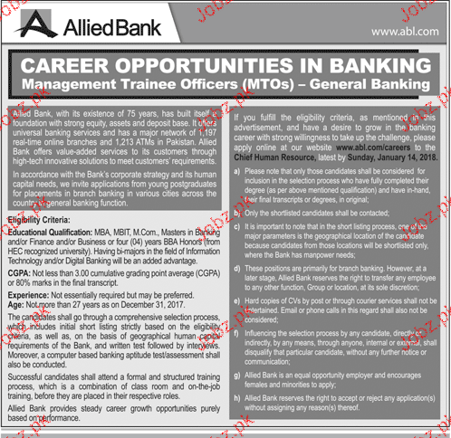 Allied Bank Management Trainee Officers MTOs Jobs