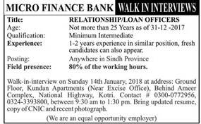 Microfinance Bank Required Relationship Officer