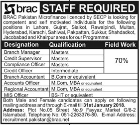 Branch Manager Required For BRAC Pakistan