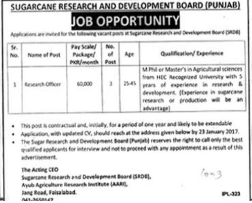 Sugarcane Research and Development Board SRDB Jobs 2018