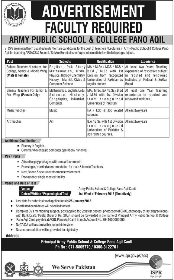 Army public School & College Required Teachers
