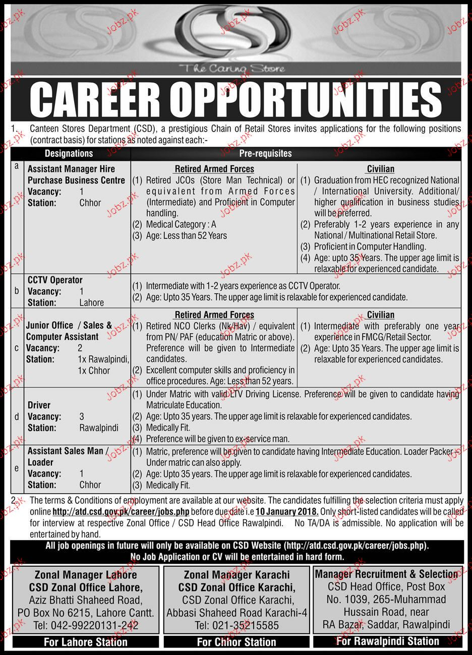 Canteen Stores Department CSD Jobs