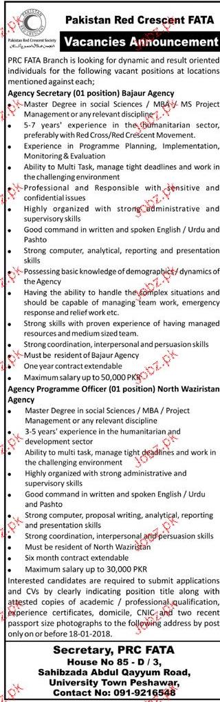Pakistan Red Crescent PRC  FATA  Jobs