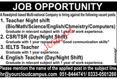 Teachers, CSR / TSRs, IELTS Teachers Job Opportunity
