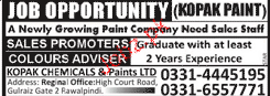 Sales Promoters and Colours Advisers Job Opportunity