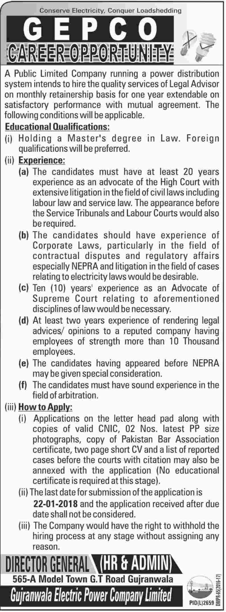 GEPCO Job 2018 for Legal Advisor