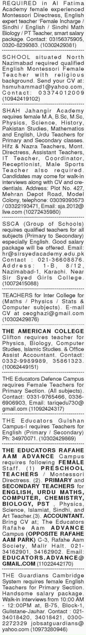 Male & Female Teacher Jobs in Sindh